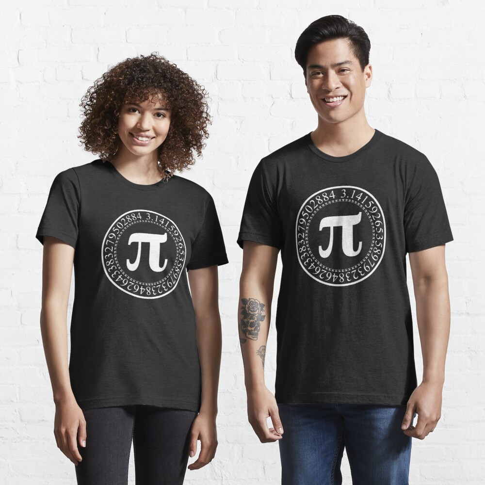 Pi Circular Digits - White Text Design for Math and Science Geeks/Nerds Essential T-Shirt