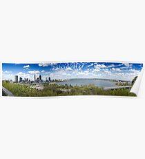 Perth City, Swan River and Narrows Bridge Poster