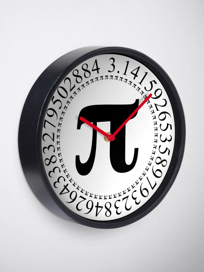 Alternate view of Pi Circular Digits - Black Text Design for Math and Science Geeks/Nerds Clock
