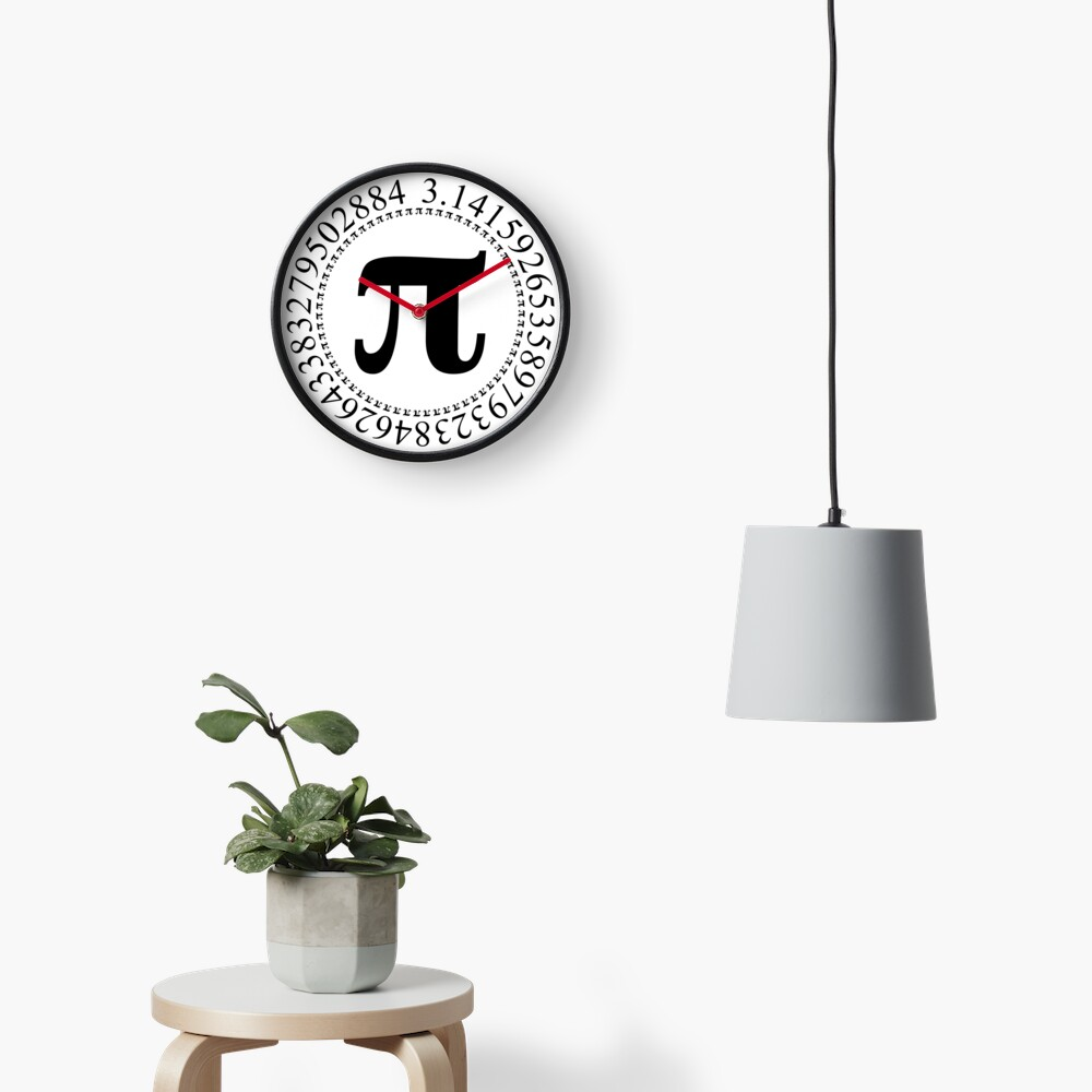 Pi Circular Digits - Black Text Design for Math and Science Geeks/Nerds Clock