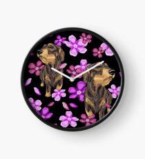 Dachshund - Wire - Flowers Clock