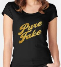 Pure Fake - Gold Typography Women's Fitted Scoop T-Shirt