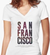 San Francisco City Name Print Women's Fitted V-Neck T-Shirt