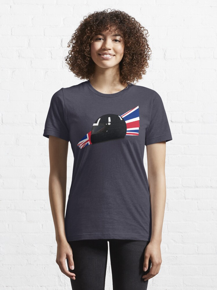 Alternate view of 90's British racing driver helmet Essential T-Shirt