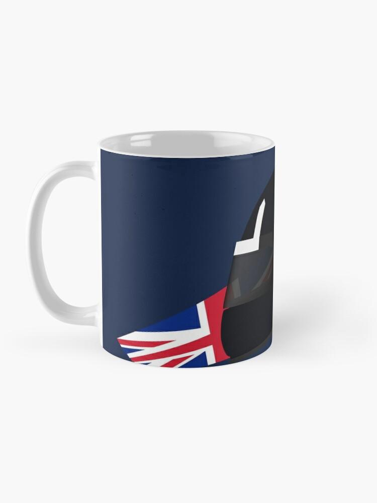 Alternate view of 90's British racing driver helmet Mug