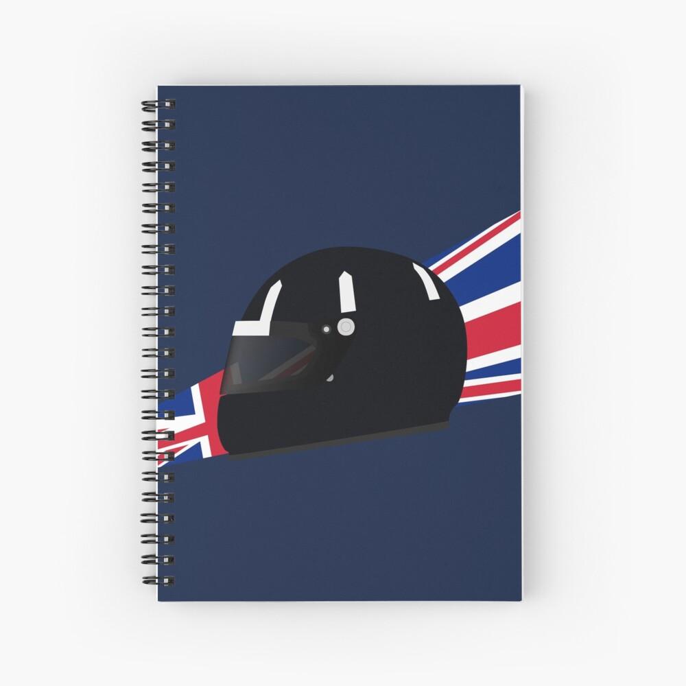 90's British racing driver helmet Spiral Notebook