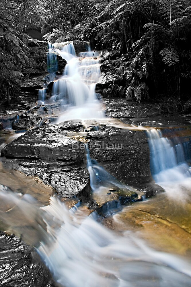 Leura Cascades in The Blue Montains - Selective colouring by Ben Shaw