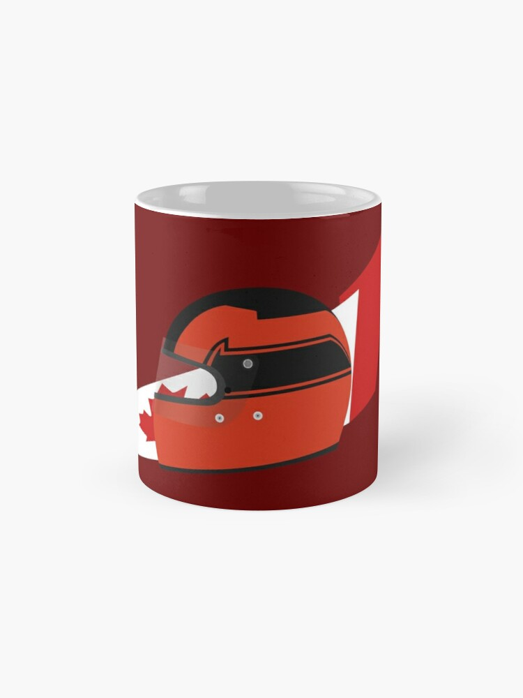 Alternate view of 80's Canadian racing driver helmet Mug
