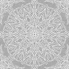 White Mandala on Grey Linen by Kelly Dietrich