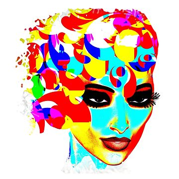 Colorful, Modern Pop art image of woman's face. by TK0920