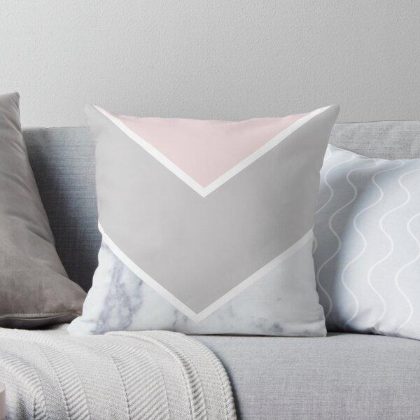Scandinavian Marble Blush Gray Throw Pillow