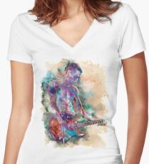 Guitar Boy Women's Fitted V-Neck T-Shirt