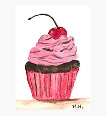 Pink cupcake watercolour painting Photographic Print