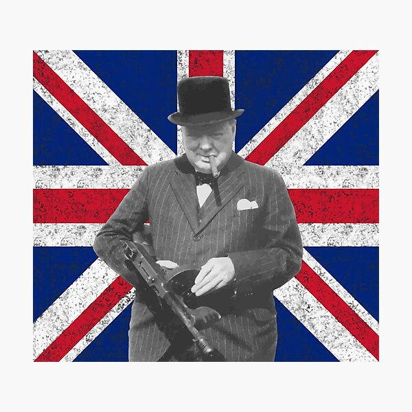 Churchill Posing With A Tommy Gun Photographic Print