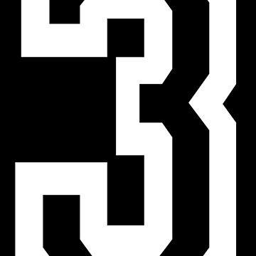 3, THREE, TEAM SPORTS, NUMBER 3, THIRD, Competition, Tri, Triple, white on black by TOMSREDBUBBLE