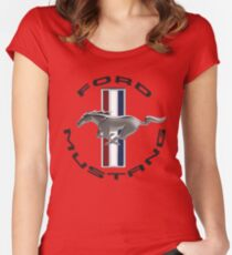 MUSTANG LOGO Women's Fitted Scoop T-Shirt