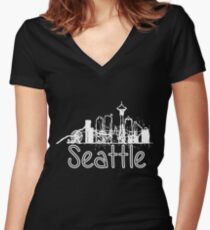 Seattle, Washington Women's Fitted V-Neck T-Shirt