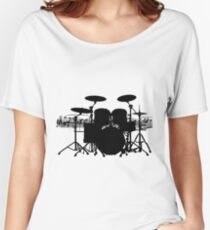Drums with sheet music (black) Women's Relaxed Fit T-Shirt