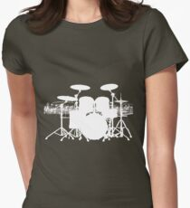 Drums with sheet music (white) Womens Fitted T-Shirt