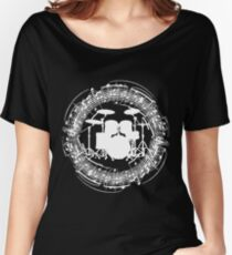 Drums inside circle of music sheet (white) Women's Relaxed Fit T-Shirt