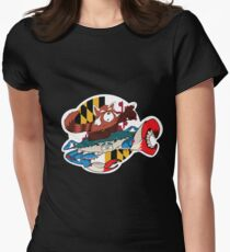 Red Panda and Blue Crab Womens Fitted T-Shirt