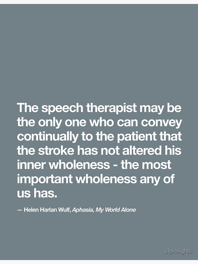 Speech therapy quote about aphasia | Poster