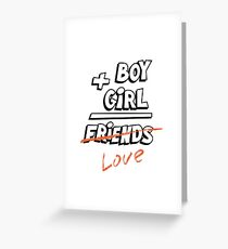 Boy plus girl equals friends. Greeting Card