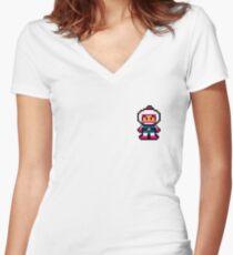Pixel Art Bomberman Women's Fitted V-Neck T-Shirt