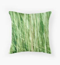 Nature in abstract, green grass in motion blur Throw Pillow