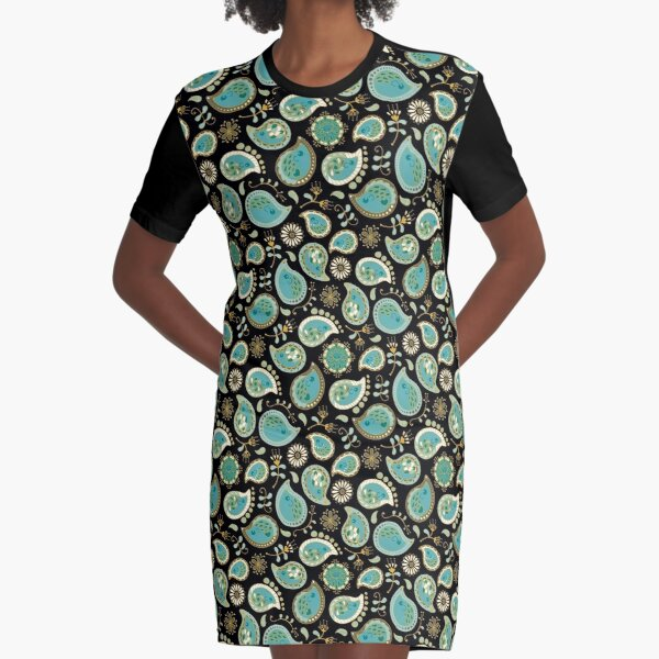 Hedgehog Paisley_Teal BgBlack Graphic T-Shirt Dress