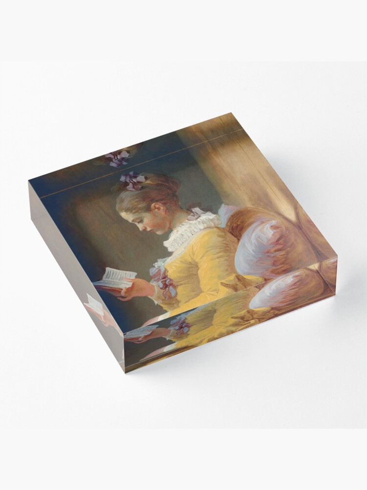 Alternate view of Young Girl Reading Painting by Jean-Honoré Fragonard Acrylic Block