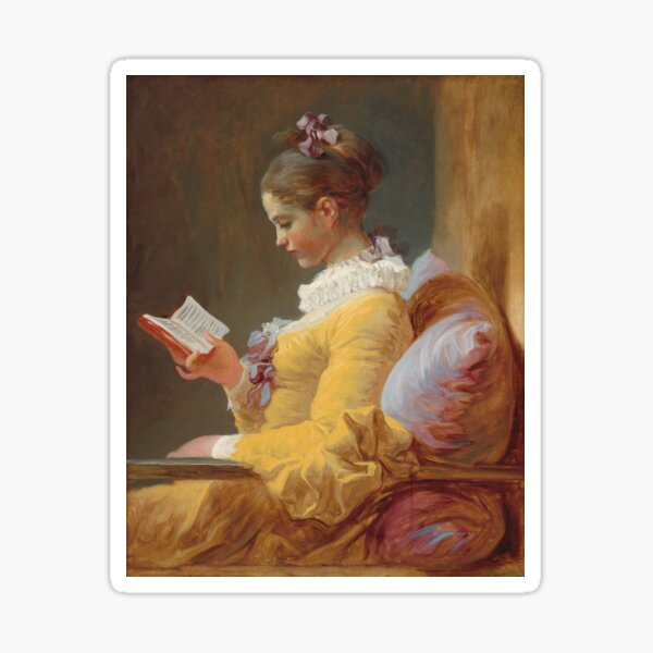 Young Girl Reading Painting by Jean-Honoré Fragonard Sticker