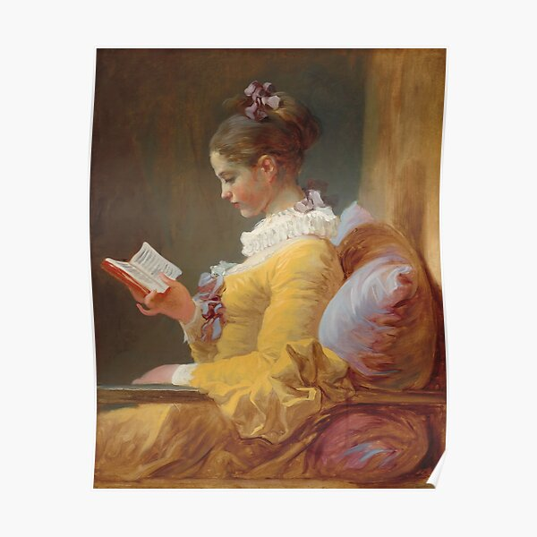 Young Girl Reading Painting by Jean-Honoré Fragonard Poster