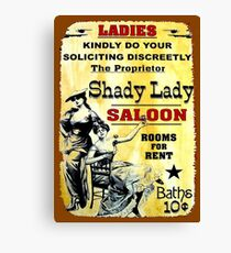 SHADY LADY SALOON:Vintage Advertising Sign Print Canvas Print