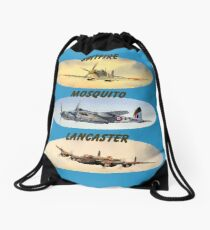 Spitfire Mosquito Lancaster Collages With Banners Drawstring Bag