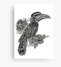 Decorative Hornbill Black and White Doodle Art Canvas Print
