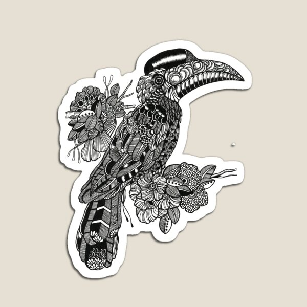 Decorative Hornbill Black and White Doodle Art Magnet