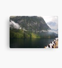 Milford sound from the ship Canvas Print