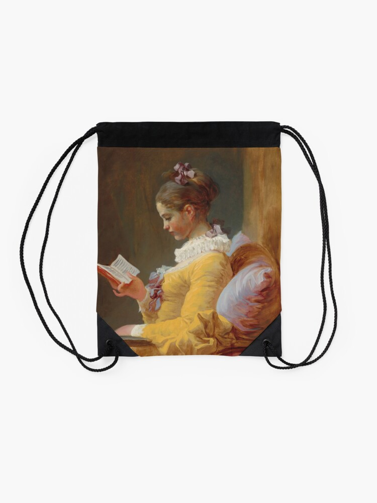 Alternate view of Young Girl Reading Painting by Jean-Honoré Fragonard Drawstring Bag