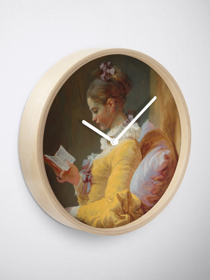 Alternate view of Young Girl Reading Painting by Jean-Honoré Fragonard Clock