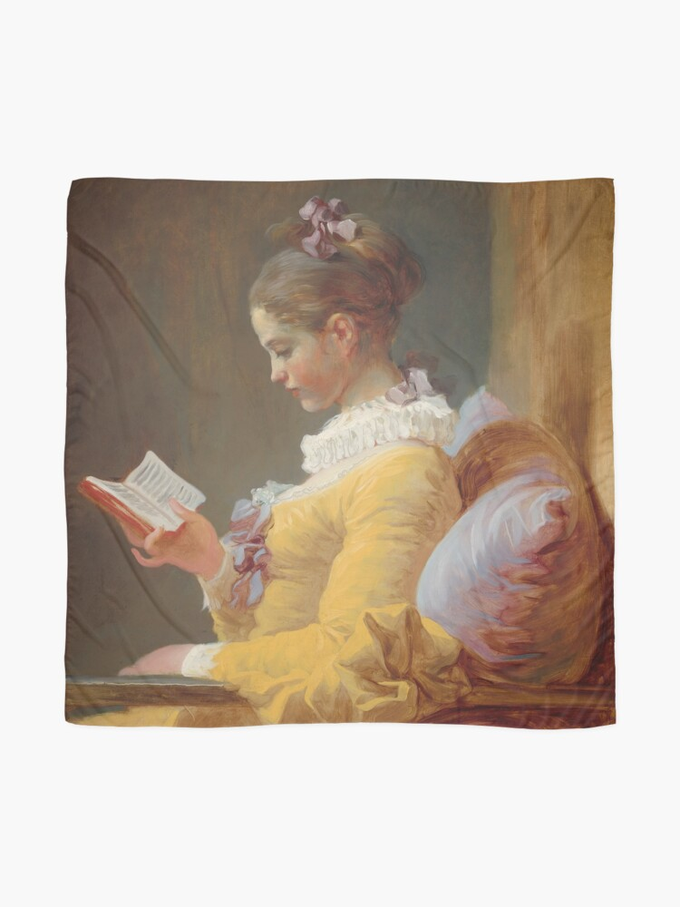 Alternate view of Young Girl Reading Painting by Jean-Honoré Fragonard Scarf