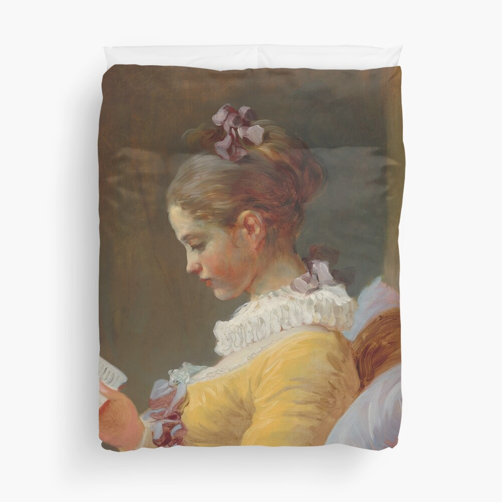 Young Girl Reading Painting by Jean-Honoré Fragonard Duvet Cover
