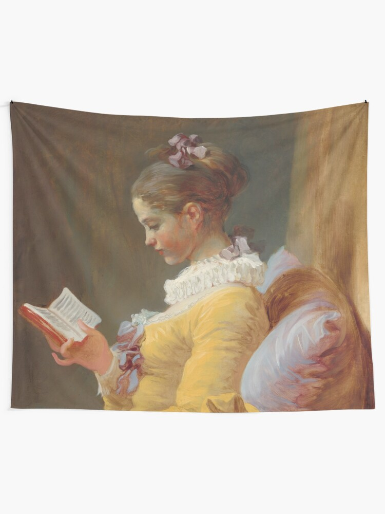 Alternate view of Young Girl Reading Painting by Jean-Honoré Fragonard Tapestry