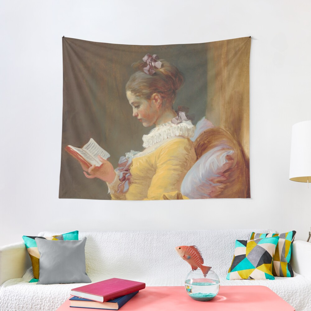 Young Girl Reading Painting by Jean-Honoré Fragonard Tapestry