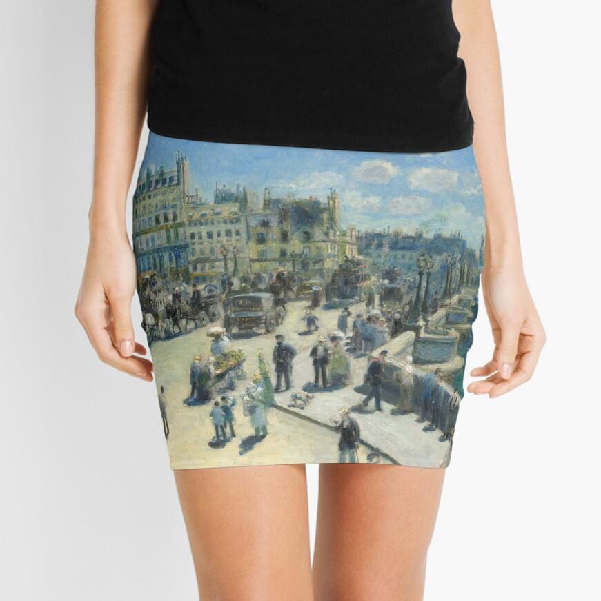 Pont Neuf Paris Painting by Auguste Renoir Mini Skirt
