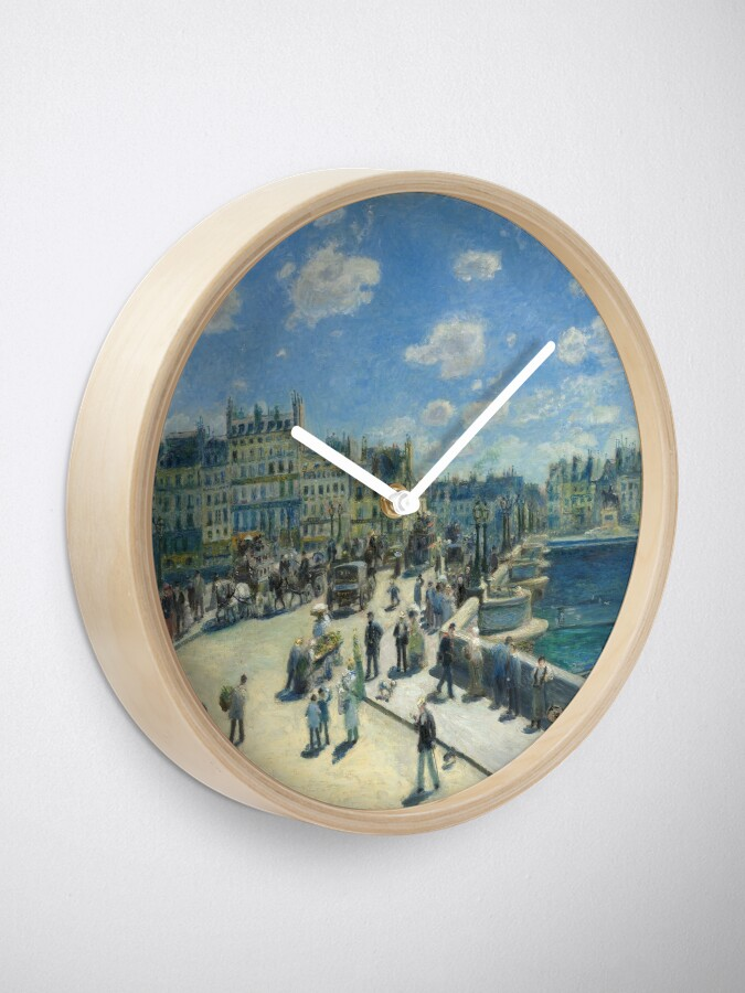 Alternate view of Pont Neuf Paris Painting by Auguste Renoir Clock