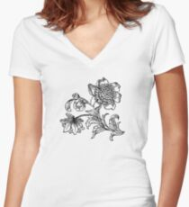 Flower Drawing Women's Fitted V-Neck T-Shirt