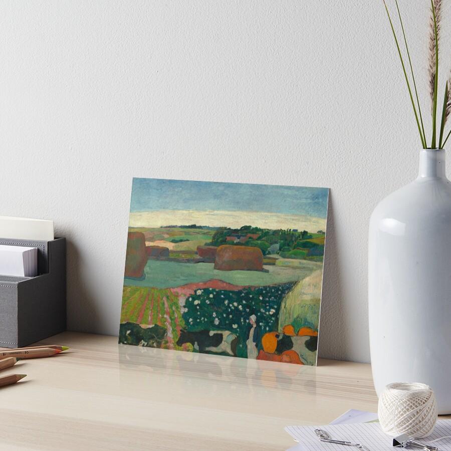 Haystacks in Brittany Oil Painting by Paul Gauguin Art Board Print