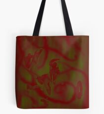 Red spilled on green Tote Bag