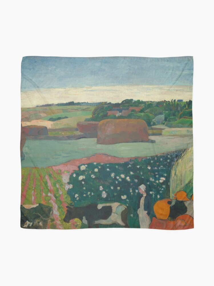 Alternate view of Haystacks in Brittany Oil Painting by Paul Gauguin Scarf